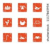 toddler match icons set. grunge ... | Shutterstock .eps vector #1117865954