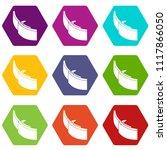 gold belt buckle icons 9 set... | Shutterstock .eps vector #1117866050
