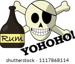 jolly roger with a bottle of rum | Shutterstock .eps vector #1117868114