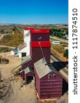 Small photo of Aerial of grain elevators, Mortlach, Saskatchewan, Canada