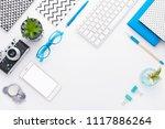 top view tablet  smartphone ...   Shutterstock . vector #1117886264