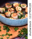 cooking scallops with parsley... | Shutterstock . vector #1117904120