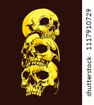 three yellow skull with brown... | Shutterstock .eps vector #1117910729