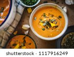 pumpkin soup food photography... | Shutterstock . vector #1117916249