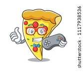 gamer pizza slice mascot cartoon | Shutterstock .eps vector #1117938536