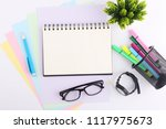 top view blank notebook with... | Shutterstock . vector #1117975673