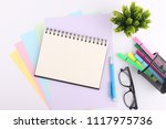 top view blank notebook with... | Shutterstock . vector #1117975736