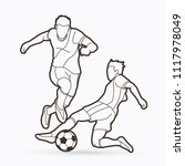 soccer player action outline... | Shutterstock .eps vector #1117978049