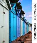 english seaside wooden huts ... | Shutterstock . vector #1117989239