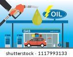 gas station  red car and... | Shutterstock .eps vector #1117993133