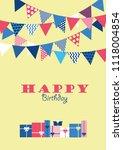 happy birthday card design.... | Shutterstock .eps vector #1118004854