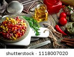 pasta in a composition with... | Shutterstock . vector #1118007020