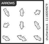 arrows outline isometric icons | Shutterstock .eps vector #1118009879
