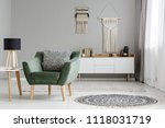 real photo of a green armchair... | Shutterstock . vector #1118031719