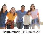 group of children outdoors on... | Shutterstock . vector #1118034020