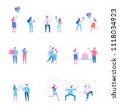 birthday party. different... | Shutterstock .eps vector #1118034923