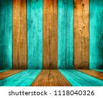 old wooden room interior  green ... | Shutterstock . vector #1118040326