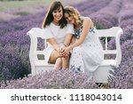 young sisters sitting close | Shutterstock . vector #1118043014
