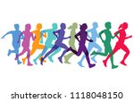 sporty running and jogging | Shutterstock .eps vector #1118048150