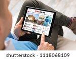 man reading daily news online... | Shutterstock . vector #1118068109