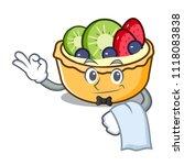 waiter fruit tart mascot cartoon | Shutterstock .eps vector #1118083838