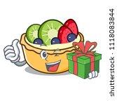 with gift fruit tart mascot... | Shutterstock .eps vector #1118083844