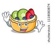 waving fruit tart character... | Shutterstock .eps vector #1118083874