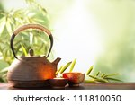 teapot and cups on table with... | Shutterstock . vector #111810050