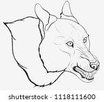 vector line art head of a... | Shutterstock .eps vector #1118111600