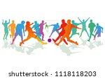 soccer game  and footballer ... | Shutterstock .eps vector #1118118203