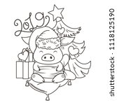 cute cartoon pig in love with... | Shutterstock .eps vector #1118125190
