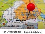 pin marked helsinki on map ... | Shutterstock . vector #1118133320
