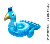 blue inflatable ride on peacock ... | Shutterstock . vector #1118159180