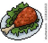 vector pixel art fried chicken... | Shutterstock .eps vector #1118161013