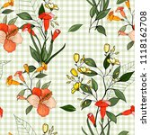 trendy floral pattern. isolated ... | Shutterstock .eps vector #1118162708