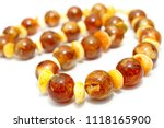 amber. beads made from natural... | Shutterstock . vector #1118165900