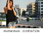 beautiful women travel on... | Shutterstock . vector #1118167136