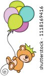 teddy bear with crown flying... | Shutterstock .eps vector #1118169416