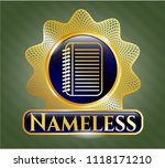 gold shiny emblem with note... | Shutterstock .eps vector #1118171210