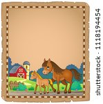 horse with foal theme parchment ... | Shutterstock .eps vector #1118194454