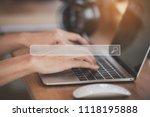 hand man using labtop for... | Shutterstock . vector #1118195888