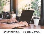 man using laptop  searching web ...   Shutterstock . vector #1118195903