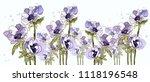 anemone. watercolor anemone.... | Shutterstock . vector #1118196548