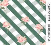 pattern  watercolor flowers ... | Shutterstock . vector #1118201060