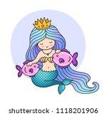 little princess mermaid with... | Shutterstock .eps vector #1118201906
