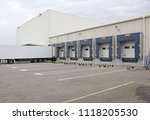 white semi truck trailer at... | Shutterstock . vector #1118205530
