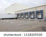 white semi truck trailer at... | Shutterstock . vector #1118205530