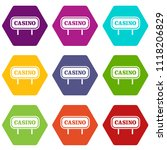 casino sign icon set many color ... | Shutterstock . vector #1118206829