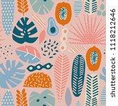 modern exotic jungle fruits ... | Shutterstock .eps vector #1118212646