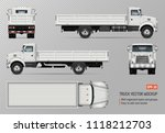 flatbed truck vector mockup.... | Shutterstock .eps vector #1118212703